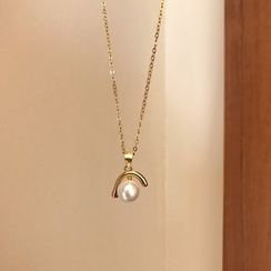 Krishya - 925 Sterling Silver Faux Pearl Pendant Necklace