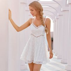 Double Crazy - Spaghetti Strap Floral Embroidered A-Line Dress