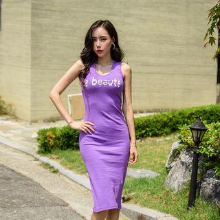 UUZONE - U-Neck Lettering Maxi Tank Dress