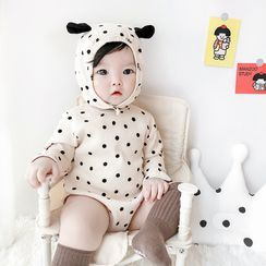 Cen2ury - Baby Long-Sleeve Dotted Hooded Bodysuit