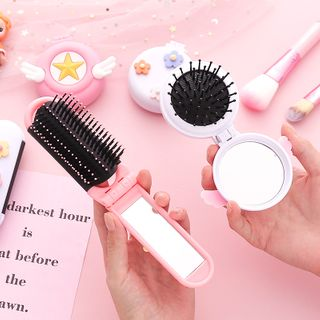 Eteum - Foldable Hair Brush with Mirror