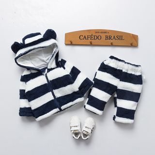 MOM Kiss - Kids Set: Striped Hooded Jacket + Striped Pants