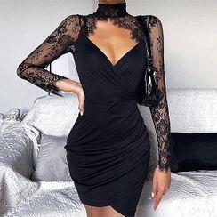 UUZONE - Cutaway-Front Lace-Yoke Bodycon Dress