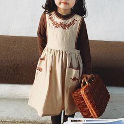 Pluie - Kids Flower Embroidered Midi Jumper Dress