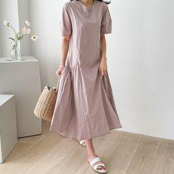 CANMART - Shirred Long Trapeze Dress