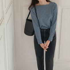 CHERRYKOKO - Square-Neck Stripe T-Shirt