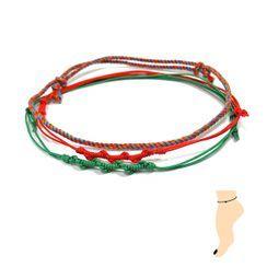 KATENKELLY - Thread Anklet Set of 3 (Red)
