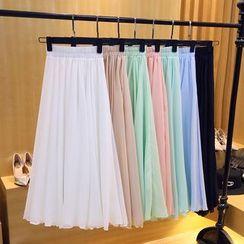 Cherry Dress - Midi Chiffon A-Line Skirt