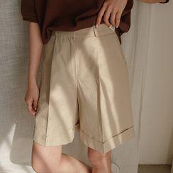 JUSTONE - Cuff-Hem Wide-Leg Shorts