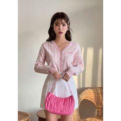 chuu - 'Barbie Diary' V-Neck Check Knit Cardigan