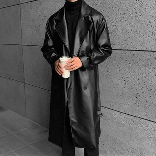 DragonRoad - Faux Leather Long Coat