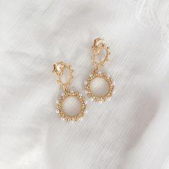 Ginga - Faux-Pearl Circle Drop Earring / Clip-On Earring