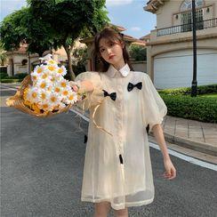 Whoosh - Puff-Sleeve Bow Mesh Overlay Shirtdress / A-Line Skirt