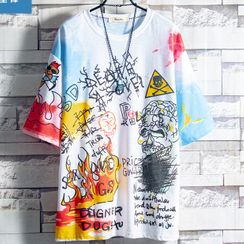 Soinku - Elbow-Sleeve Printed T-Shirt