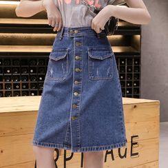Enoki - Plus Size High Waist Single-Breasted A-Line Denim Midi Skirt