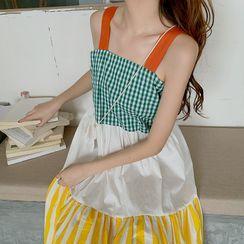 Koohimbi - Gingham Panel Striped Sleeveless Midi Shift Dress
