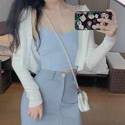 Velero - 格子吊带背心/高腰纯色裙/长袖纯色针织开衫