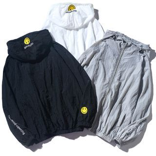 Rampo - Smiley Face Embroidered Zip-Up Hoodie