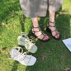 Vindler - Platform Wedge Studded Ankle Strap Sandals