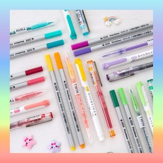 Momoi(モモイ) - Set of 5: Color Pen + Highlighter + Marker Pen + Brush Pen