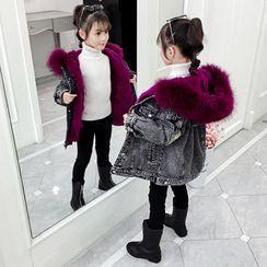 Qin Qin - Kids Furry Hooded Washed Denim Jacket