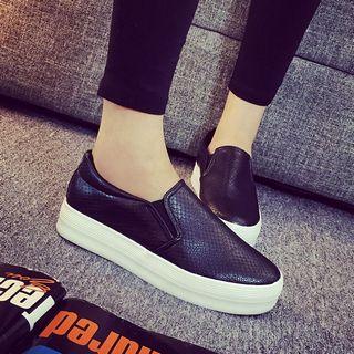 Solejoy Faux-Leather Platform Slip-Ons
