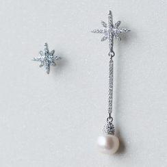 A'ROCH - 925 Sterling Silver Asymmetrical Rhinestone Drop Earring