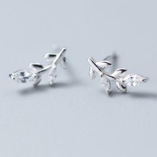 A'ROCH(エーロック) - 925 Sterling Silver Rhinestone Leaf Earring