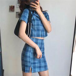 CaraMelody - Short-Sleeve Plaid Shirt / Plaid Mini Skirt