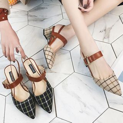 Yuki Yoru - Plaid Pointed Chunky Heel Sandals