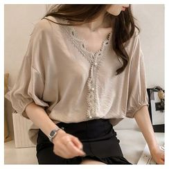 Puntino - Elbow-Sleeve Lace Trim Blouse