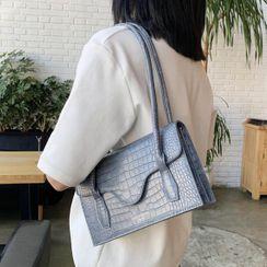 Velocia - Croc Grain Faux Leather Shoulder Bag