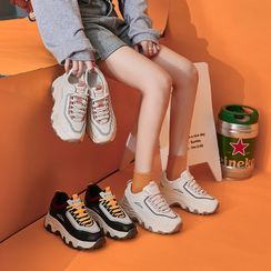 Shanhoo - 厚底系带休閒鞋