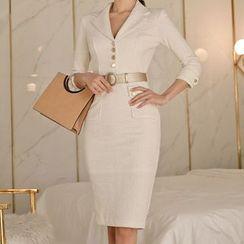 Dimanche - Pocket Detail 3/4-Sleeve Sheath Dress