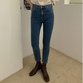 FROMBEGINNING - Washed Slim-Fit Jeans