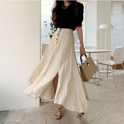Finlo - Linen Midi A-Line Skirt