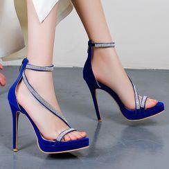 Megan - Stiletto Heel Platform Rhinestone Sandals