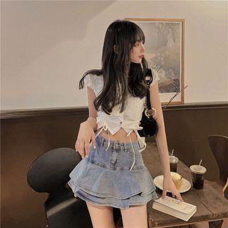 Ginger Girl(ジンジャーガール) - Layered Denim Mini A-Line Skirt