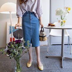 LEELIN - Zip-Fly H-Line Denim Skirt