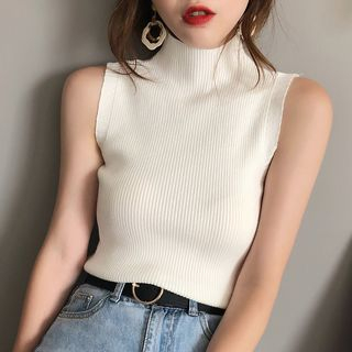 Gwendolyn - Mock-Neck Sleeveless Ribbed Knit Top