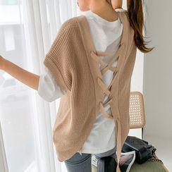Envy Look - V-Neck Lace-Up Back Knit Vest