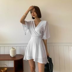 LIPHOP - Inset Shorts Wrap-Front Bell-Sleeve Dress