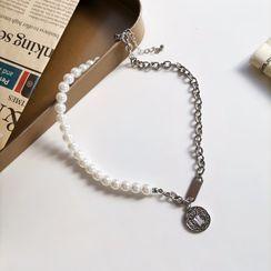 Qualarias - 仿珍珠钱币链条项链