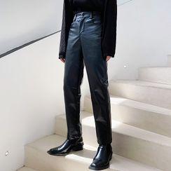 ANCHO - 仿皮直筒裤