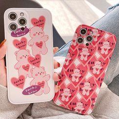 Primitivo(プリミティーボ) - Bear Print Phone Case - iPhone 12 Pro Max / 12 Pro / 12 / 12 mini / 11 Pro Max / 11 Pro / 11 / SE / XS Max / XS / XR / X / SE 2 / 8 / 8 Plus / 7 / 7 Plus