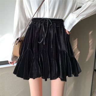 Fabricino - Velvet Mini A-Line Skirt