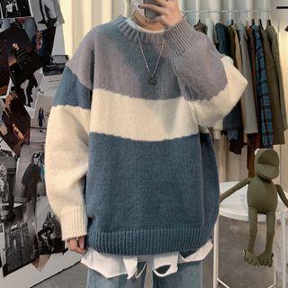 DuckleBeam - Round-Neck Color-Block Oversize Sweater