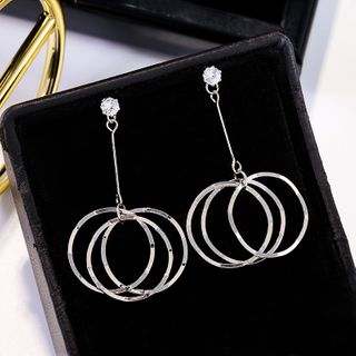 LIVSIA - Rhinestone Alloy Hoop Dangle Earring