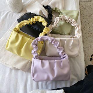 Diamante - Shirred Handle Handbag with Shoulder Strap