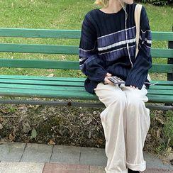 LINSI - Striped Sweater / Plain Wide-Leg Pants